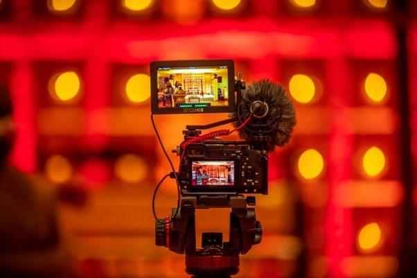 a camera on set