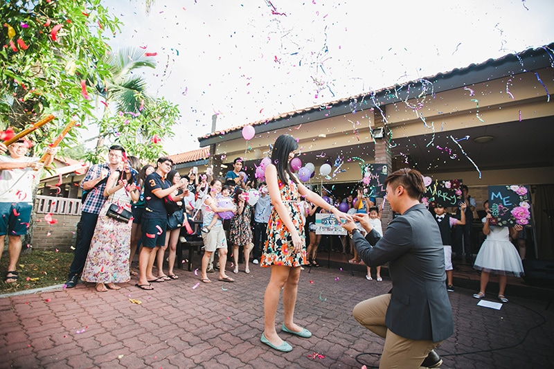 flash mob marriage proposal idea at a chalet