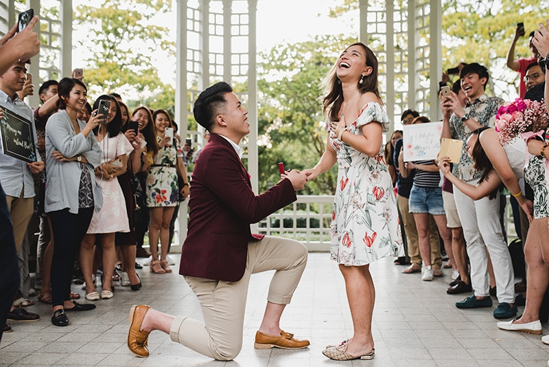 marriage proposal at the garden